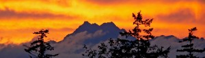 Olympic Mountain Sunset, Mount Olympia, Washington State, USA
