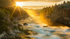 Bright Sunrise Over Fast Flowing River HD Desktop Background